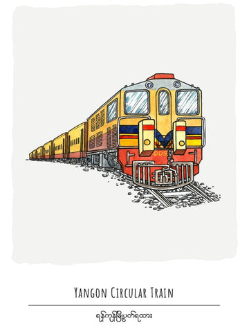 Yangon Circular Train Postcard