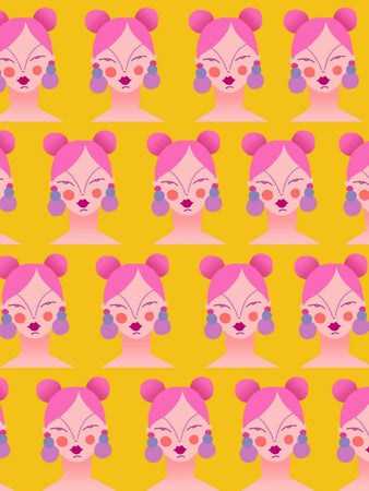 Girl pattern A6 Postcard in Yellow