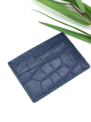 Topeka Card Holder in Navy Crocodile Embossed Leather
