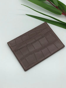 Topeka Card Holder in Beige Crocodile Embossed Leather
