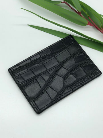 Topeka Card Holder in Black Crocodile Embossed Leather