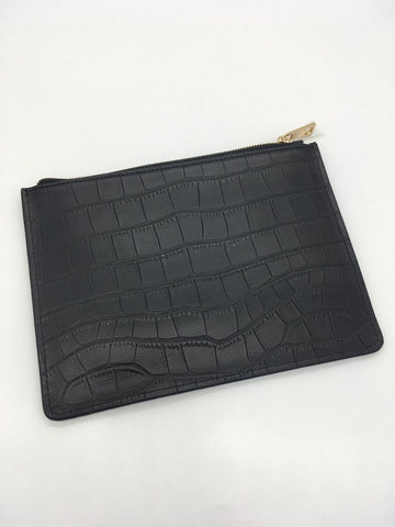 Highlands Pouch in Black Crocodile Embrossed Leather