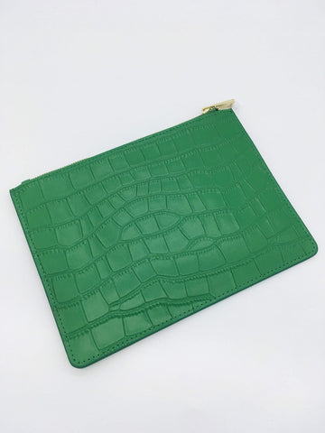 Highlands Pouch in Green Crocodile Embrossed Leather