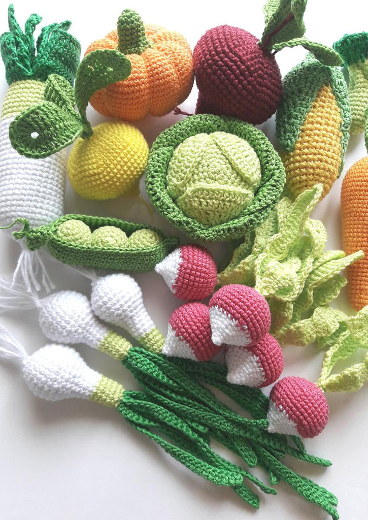 educationtoys teether teeth eco-friendly 1 Pcs crocheted vegetables Crochet peas Baby toys play food kitchen decoration