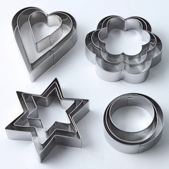 12 Pieces Stainless Shape Cake Biscuits Decor Mold