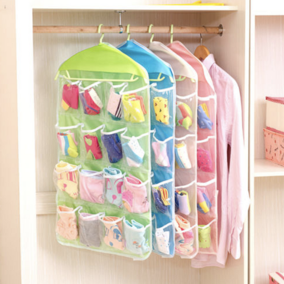 16 Pockets Underwear Socks Hanging Storage