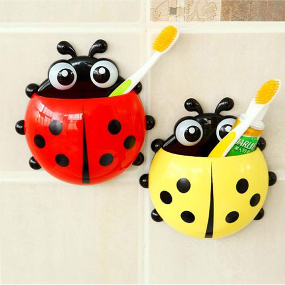 Ladybug Shape Sucker Toothbrush Holder Storage