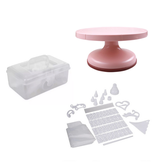 100 Pieces Cake Decorating Kit + FREE Pink Turn Table