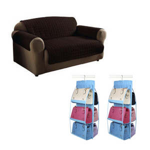 Reversible Double Couch Cover + FREE 2 Pieces Six Pockets Hanging Bag Storage and Organizer