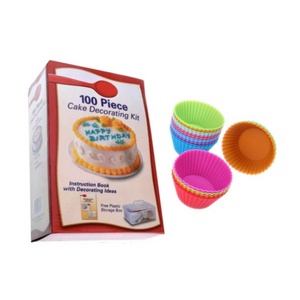 100 Pieces Cake Decorating Kit + FREE Set of 12 Silicone Muffin Cup