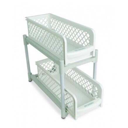 Portable 2 Tier Basket Drawers for Kitchen and Bathroom