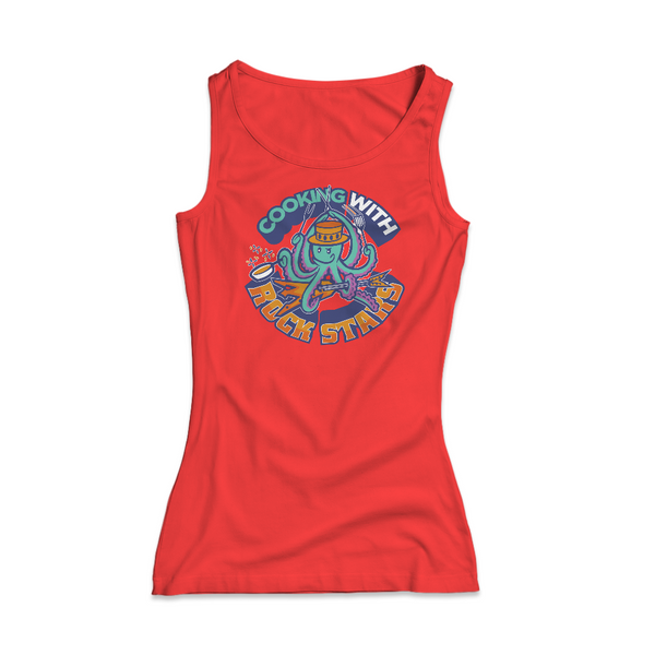 Cooking With Rock Stars Logo Women's Rib Tank - Red
