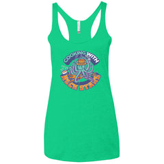 Cooking With Rock Stars Logo Ladies' Tri-blend Racerback Tank - Envy