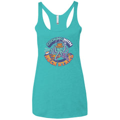 Cooking With Rock Stars Logo Ladies' Tri-blend Racerback Tank - Tahiti Blue