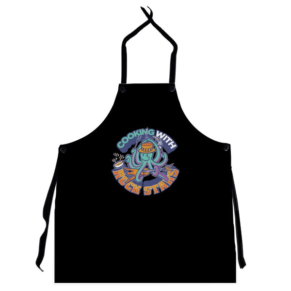 Cooking With Rock Stars Logo Apron - Black
