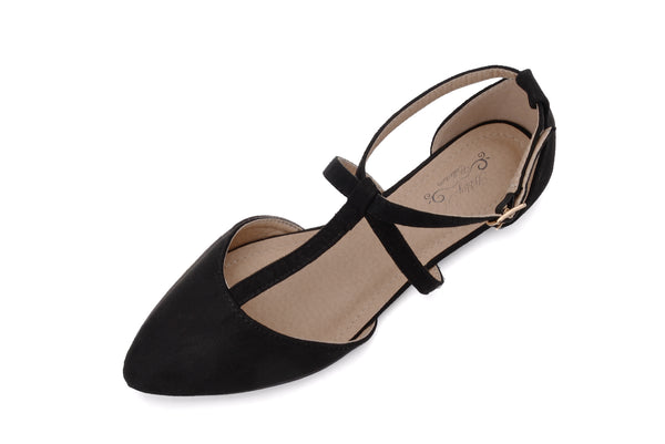 Mila Lady Laurel Womens Pointed Toe Ankle Wrap T-Strap D'Orsay Flats