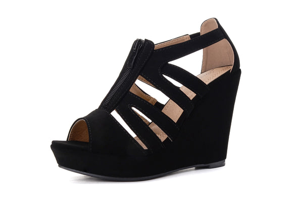 Mila Lady Lisa 5 Zippered Strappy Open Toe Platform Wedges Heels Sandals Shoes for Women