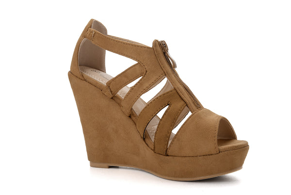 40adea3801a ... Mila Lady Lisa 5 Zippered Strappy Open Toe Platform Wedges Heels  Sandals Shoes for Women ...