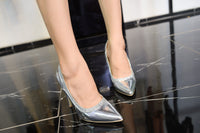 Mila Lady Celeste Patent Leather Sparkles Pointed Toe Lady Stilettos Heels Pumps Shoes