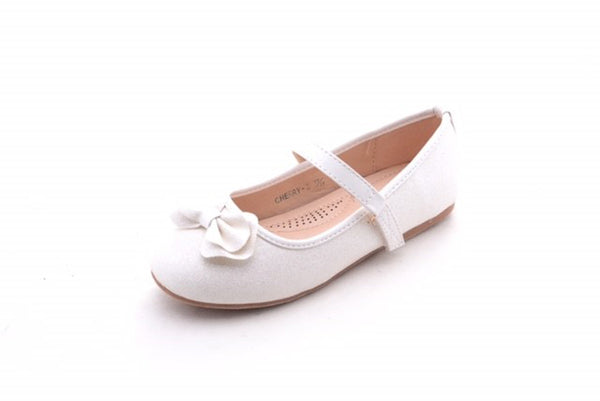 White Color Cute T-Strap Buckle Princess Kids Flats Girls Dressy Youth Size 1