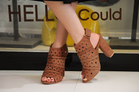 Mila Lady Erin 7A Women's Laser Cut Stacked Chunky Strappy Heel Peep Toe Bootie