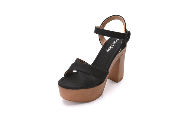 Retro Wooden Platform Ankle Strap Buckle with Chunky Statement Sole Heeled Sandals for Women LALA
