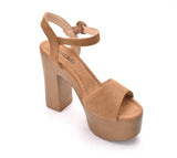 Evoking Chic Styles Ankle Strap Buckle Chunky Heeled Sandals Platform Sole Shoes for Women Loleta