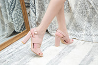 Mila Lady Comfortable Double Leather Strappy Block Chunky Open Toe Ankle Strap High Heeled Sandals, Maud