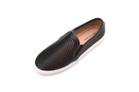 Perforated Cutout Hollow Fashion Causal White Sole Slip On Sneakers Flat Shoes for Women