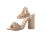 Mila Lady SETILA Womens Ankle Strap Adjustable Buckles Stud and Pearl Block Chunky Heel Sandals