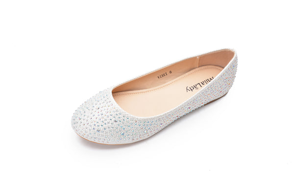 Mila Lady Sparkly Crystals Rhinestone Comfortable Slip On Ballet Flat Shoes for Women Wedding