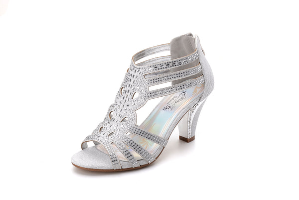 Mila Lady Women's Lexie Crystal Mid Heels Dress Sandals Shoes (Kimi 25)