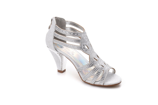 1faf4d2c7e8ed Mila Lady Women's Lexie Crystal Mid Heels Dress Sandals Shoes Kimi ...