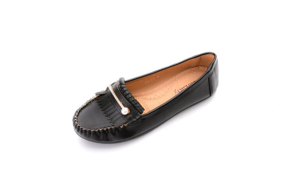 Mila Lady Comfortable Slip on Loafers Tassels Moccasin Driving Flat Shoes for Women