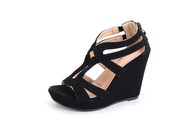 Mila Lady Lisa 4 Zippered Strappy Open Toe Platform Wedges Heeled Sandals Dress Shoes for Wome