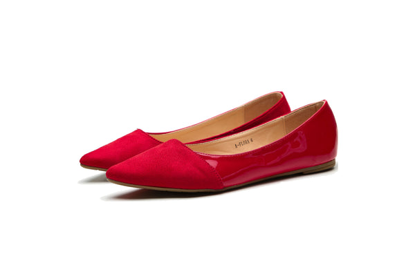 MilaLady - Flora |  Patent PU Pointed Toe Slip On Ballet Dressy Shoes for Women