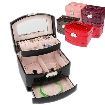 Mother's Day Promotion 3-Layer Leather Organizer Jewelry Box