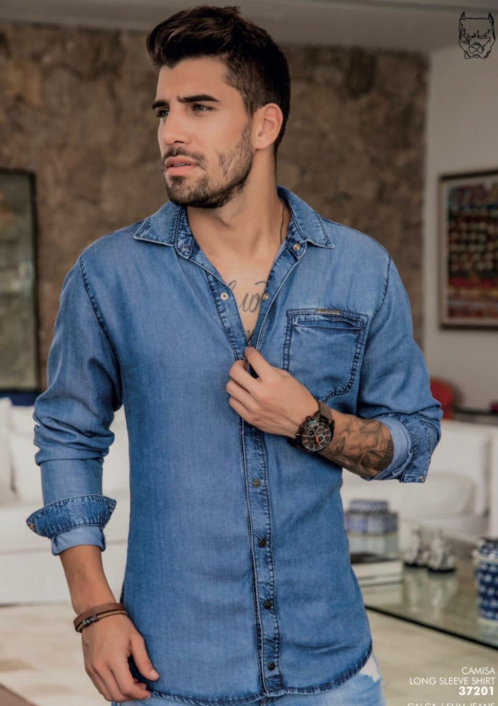 37201 Camisa Jeans PIT BULL
