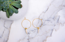 Load image into Gallery viewer, 24k gold wire hoops earring By Gabrieli Couture. Minimalist earrings, wire earrings, Small hoop earrings, Thin hoops earrings, gold jewelry, Good Luck earrings, Holly jewelry, Religious Jewelry, seashell jewelry