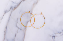 Load image into Gallery viewer, 24k gold wire hoops earring By Gabrieli Couture. Minimalist earrings, wire earrings, Small hoop earrings, Thin hoops earrings, gold jewelry
