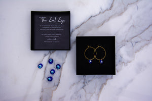 24K Gold Pleated Evil Eye Gold Hoops Earrings