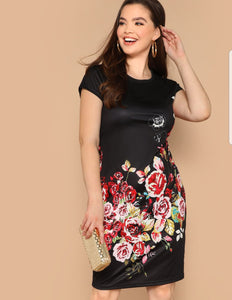 Black floral midi dress - Curvy
