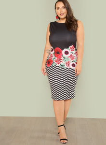 Floral/Chevron midi dress - curvy