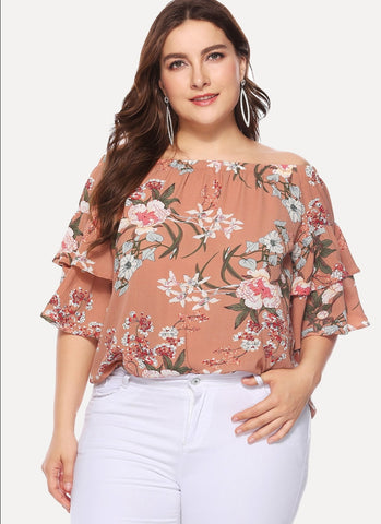 Off shoulder floral blouse - curvy last one size XL