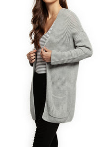 Waffle Knit Pocket Cardigan in Grey