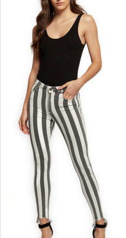 Go Bold highwaist skinnies in Grey/White stripe