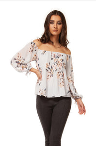Pastel Bouquet off shoulder Blouse