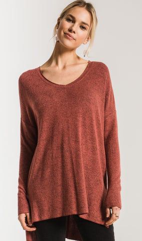 Marled Sweater Knit V-neck Tunic - in Mesa Red