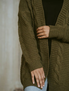 That Cozy Cardi in Olive Green