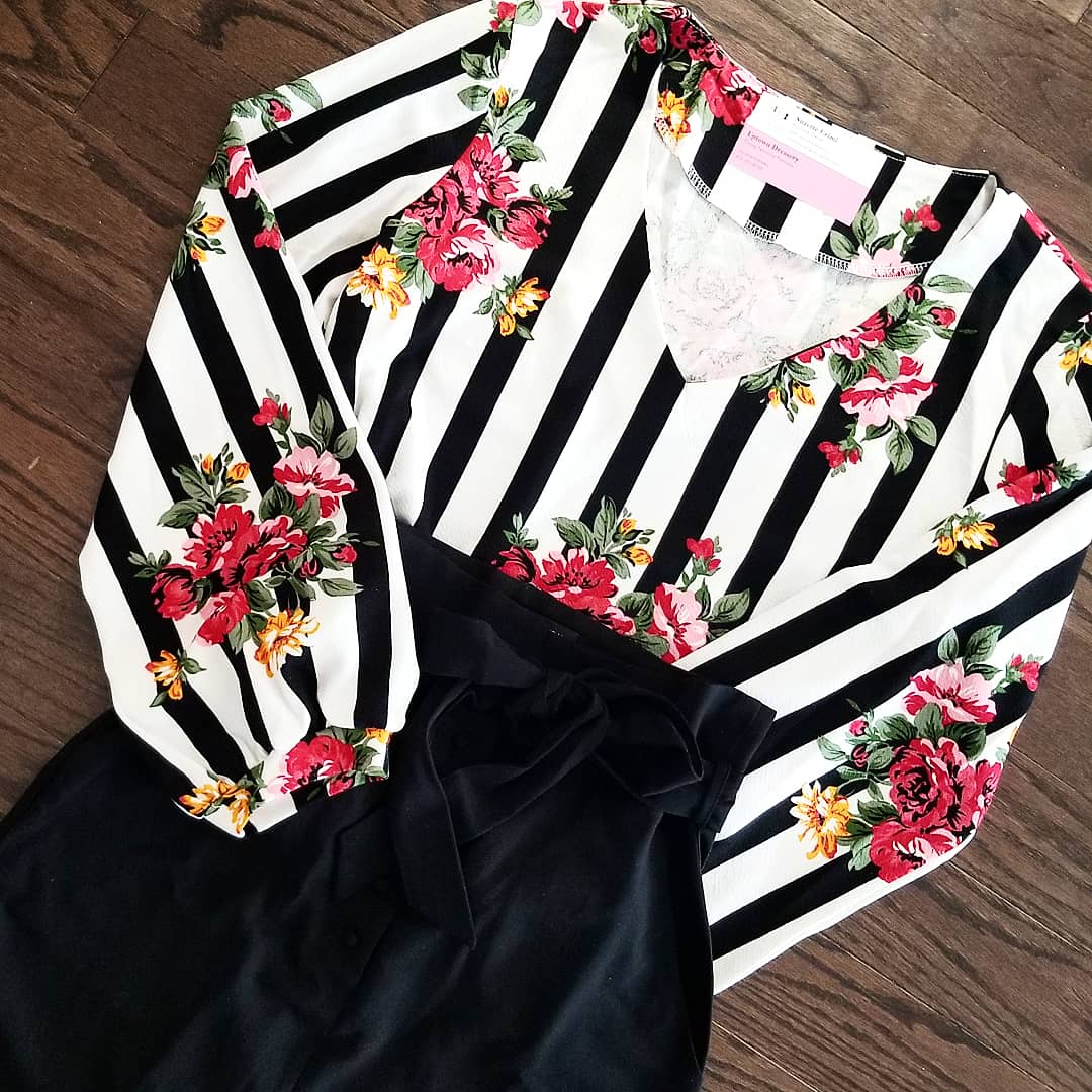Floral/striped longsleeve blouse - curvy